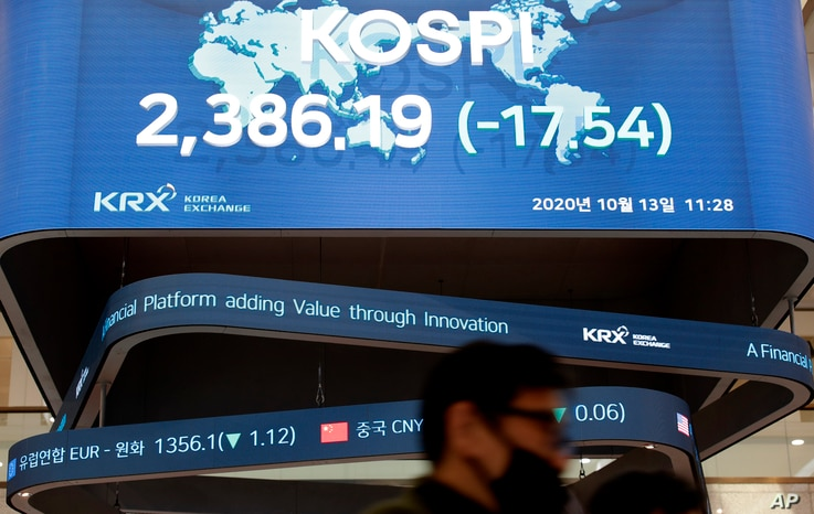 A man wearing a face mask walks near the screens showing the Korea Composite Stock Price Index (KOSPI) at the Korea Exchange in…