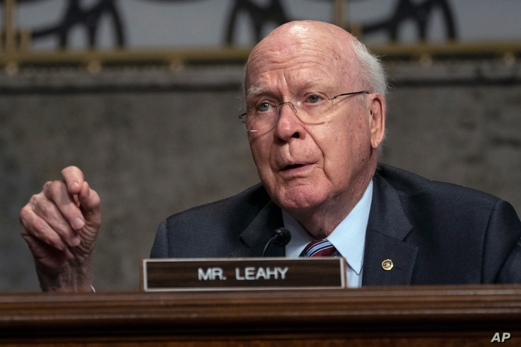 Sen. Patrick Leahy, D-Vt., speaks during a Senate Judiciary Committee oversight hearing on Capitol Hill in Washington,…