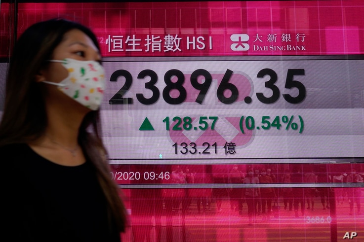 A woman walks past a bank's electronic board showing the Hong Kong share index at Hong Kong Stock Exchange Tuesday, Oct. 6,…