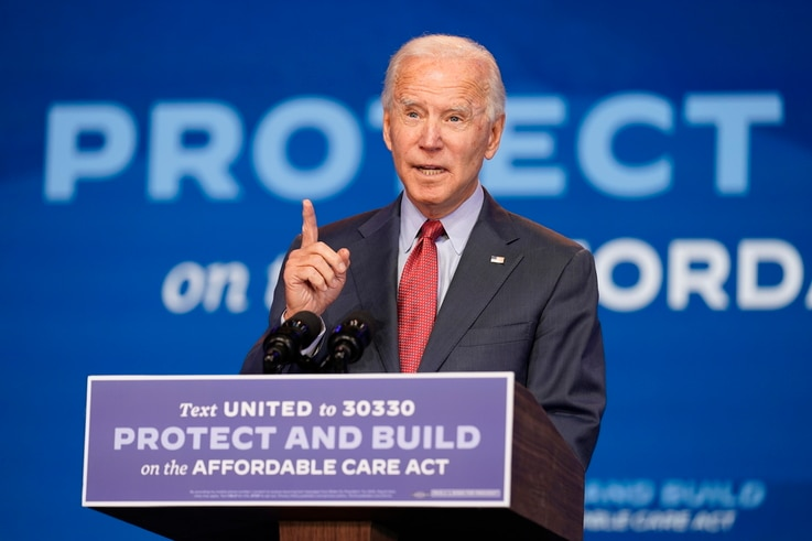 Democratic presidential candidate former Vice President Joe Biden speaks about the Coronavirus and health care at The Queen…