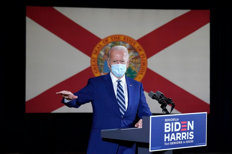 The Florida state flag hands behind Democratic presidential candidate former Vice President Joe Biden as he speaks at Southwest…