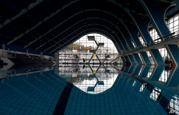 View of a swimming pool that is closed for public in Prague, Czech Republic, Friday, Oct. 9, 2020. The Czech government has…