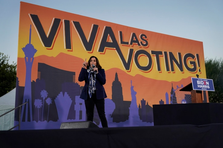 Democratic vice presidential candidate Sen. Kamala Harris, D-Calif., speaks at a campaign event Tuesday, Oct. 27, 2020, in Las…