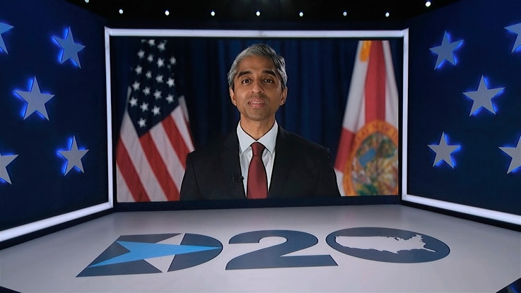 In this image from video, former U.S. Surgeon General Dr. Vivek Murthy speaks during the fourth night of the Democratic…