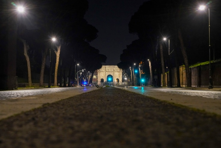 An empty street is seen after 10 p.m. on the first day of the national night time curfew due to new coronavirus measures, in…