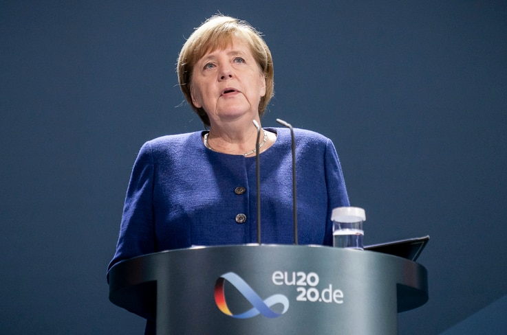 German Chancellor Angela Merkel addresses the media during a statement at the chancellery in Berlin, Germany, Monday, Nov. 9,...