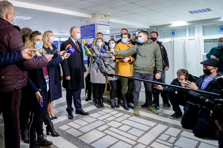 Incumbent Moldovan President Igor Dodon speaks to media after casting his vote in the country's presidential elections in…