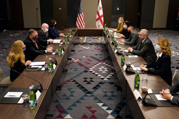 Secretary of State Mike Pompeo meets with civil society leaders in Tbilisi, Georgia, Wednesday, Nov. 18, 2020. (AP Photo…