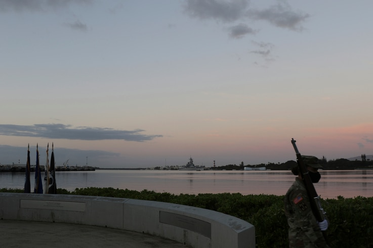 Military practice ahead of the ceremony to mark the anniversary of the Japanese attack on Pearl Harbor, Monday, Dec. 7, 2020,…