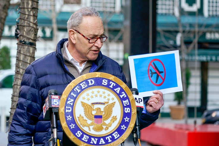 Senate Minority Leader Chuck Schumer, D-N.Y., speaks to reporters during a news conference, Tuesday, Jan. 12, 2021, in New York...
