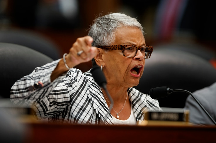 Rep. Bonnie Watson Coleman, D-N.J., speaks during a hearing with FBI Deputy Assistant Director Peter Strzok before the House…