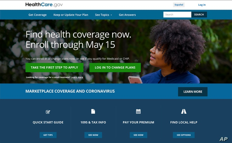 This image shows the main page of the HealthCare.gov website on Monday, Feb. 15, 2021.  Health insurance shoppers stuck in a…