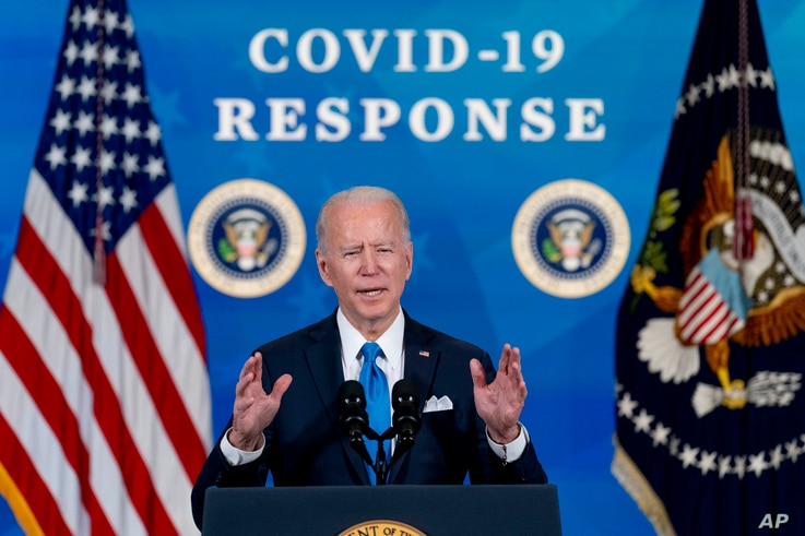 In the March 10, 202, photo, President Joe Biden speaks in the South Court Auditorium in the Eisenhower Executive Office…