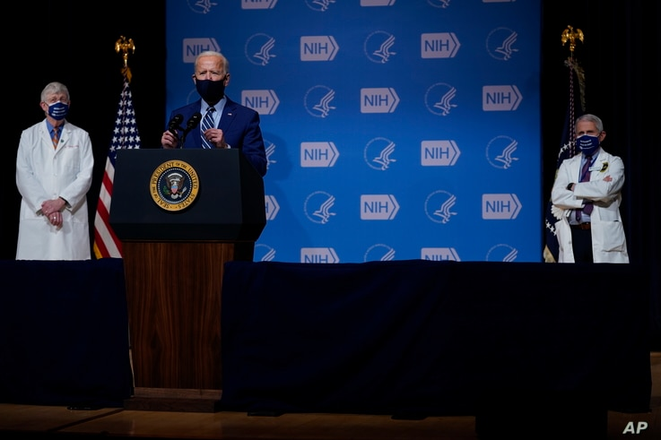 President Joe Biden speaks during a visit to the Viral Pathogenesis Laboratory at the National Institutes of Health, Thursday,...