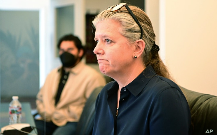 Julia Sherwin, lawyer for the family of Mario Gonzalez, speaks about his death in Oakland, Calif. on Wednesday, April 28, 2021…