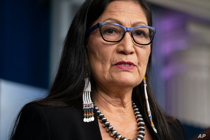 FILE - In this April 23, 2021, file photo, Interior Secretary Deb Haaland speaks during a news briefing at the White House in...