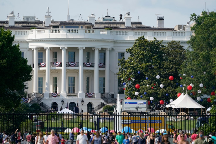 Preparations take place for an Independence Day celebration on the South Lawn of the White House in Washington, July 3, 2021.