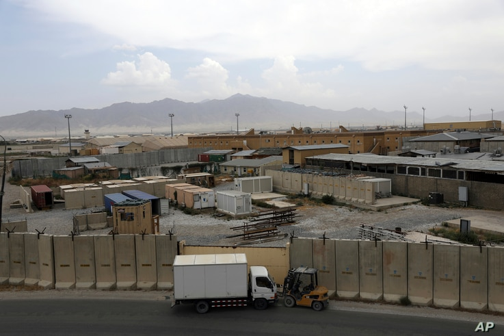 Part of the sprawling Bagram air base is seen after the American military departed, in Parwan province north of Kabul,…