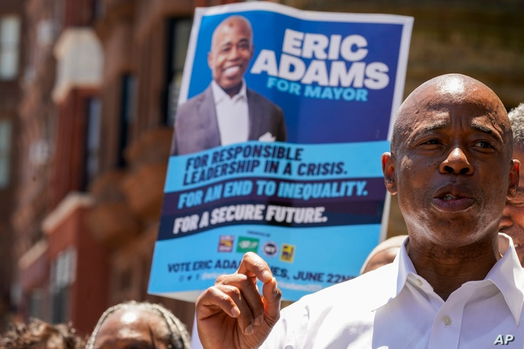 Democratic mayoral candidate Eric Adams speaks during a campaign event, Thursday, June 17, 2021, in the Harlem neighborhood of…