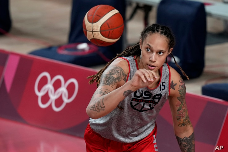 United States' Brittney Griner takes part in a women's basketball practice at the 2020 Summer Olympics, Saturday, July 24, 2021...