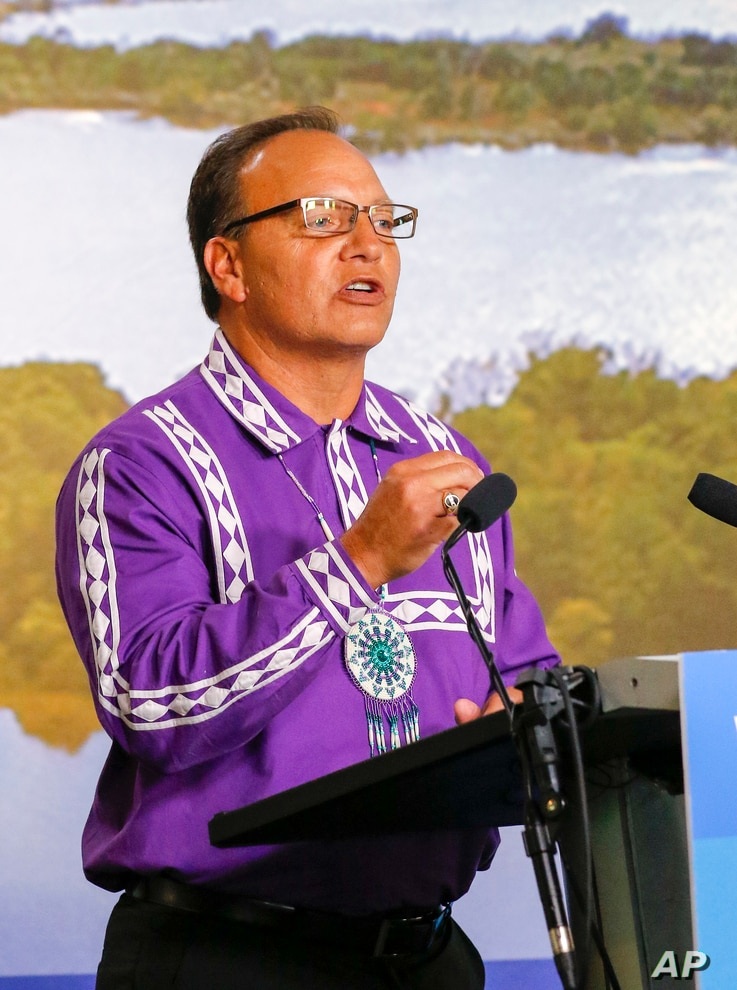 Choctaw Nation Chief Gary Batton speaks during a press conference with Chickasaw Nation Governor at the Oklahoma Heritage Center in Oklahoma City on Thursday, August 11, 2016.b