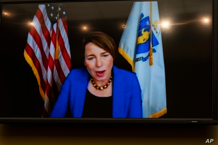 Massachusetts Attorney General Maura Healey testifies virtually, seen on a video monitor during a House Oversight Committee ...