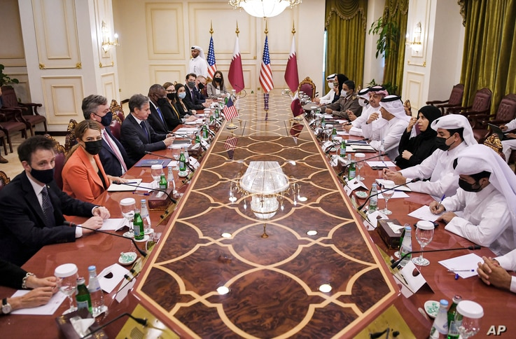 US Secretary of State Antony Blinken, fourth left and Secretary of Defense Lloyd Austin, fifth left,  takes part in a meeting…