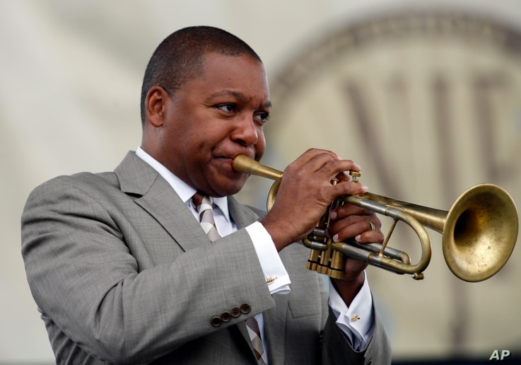 Wynton Marsalis performs at the Newport Jazz Festival in Newport, R.I., on Saturday, Aug. 6, 2011. Marsalis opened the three…