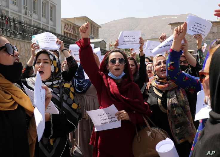 Women gather to demand their rights under the Taliban rule during a protest in Kabul, Afghanistan, Friday, Sept. 3, 2021. As…