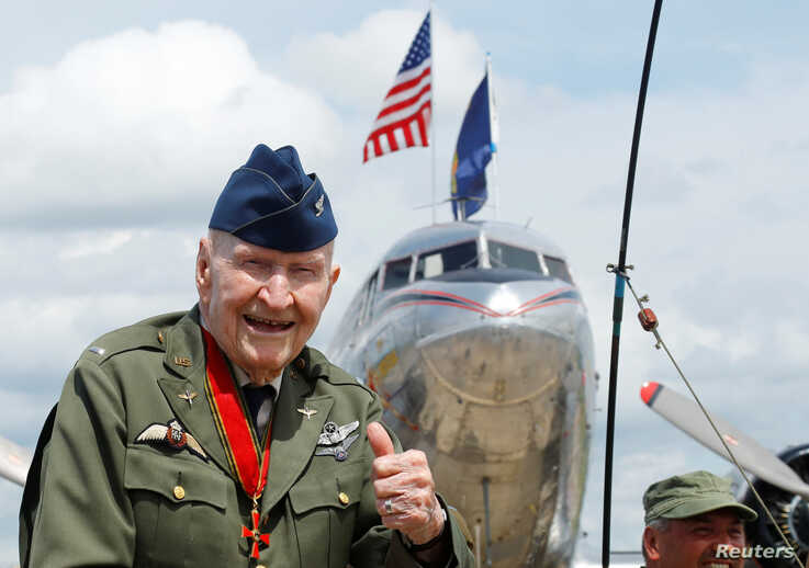 Gail Halvorsen, Berlin Airlift veteran pilot known as Candy Bomber, attends a celebration to mark the 70th anniversary of the Berlin Airlift at the U.S. Army's airfield in Wiesbaden, Germany, June 10, 2019.