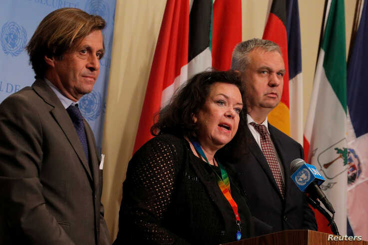 Nicolas de Riviere, French ambassador to the United Nations, Karen Pierce, the United Kingdom's ambassador to the U.N., and Jurgen Schulz, German deputy ambassador to the U.N., issue a statement on North Korea's latest missile launch, Aug. 1, 2019.