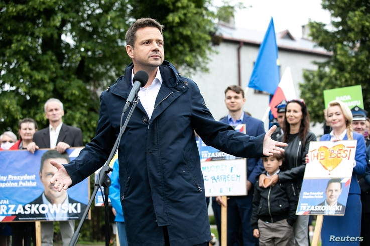 Mayor of Warsaw and the presidential candidate of the main Polish opposition party Civic Platform (PO) Rafal Trzaskowski attends election rally in Urszulin