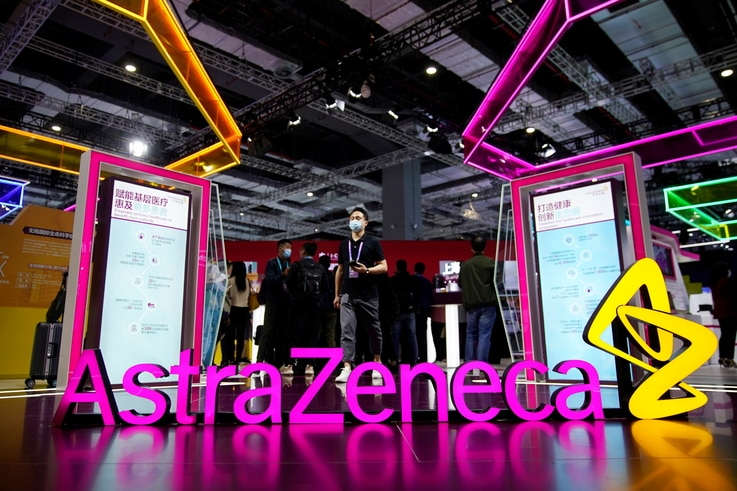 An AstraZeneca sign is seen at the third China International Import Expo (CIIE) in Shanghai