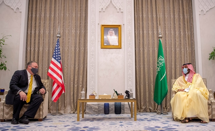 U.S. Secretary of State Mike Pompeo meets with Saudi Crown Prince Mohammed bin Salman during his visit to the country, in Riyadh