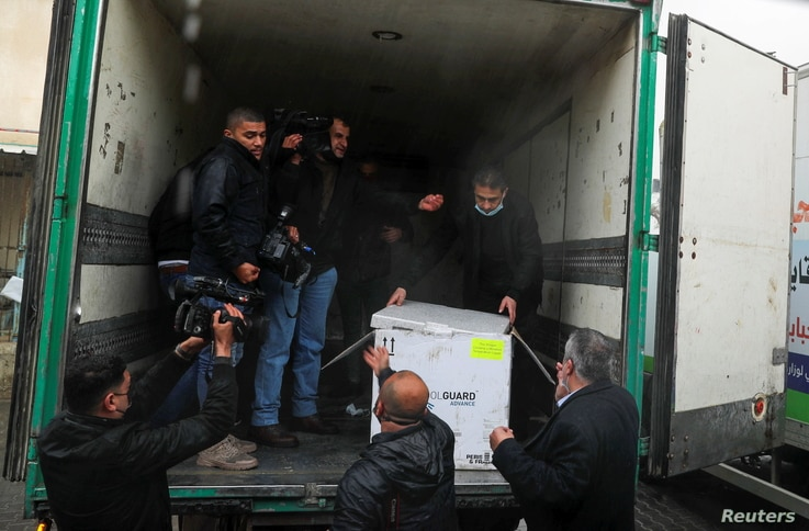 Gaza receives its first COVID-19 vaccine shipment