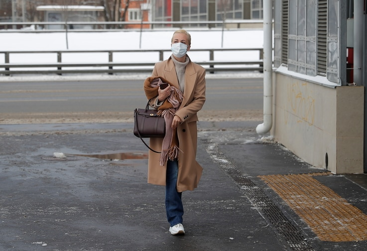 Yulia Navalnaya, wife of Russian opposition leader Alexei Navalny, arrives at a court building in Moscow