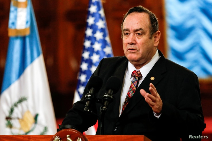 FILE PHOTO: Guatemala's president, Alejandro Giammattei, speaks during February 2020 news conference in Guatemala City