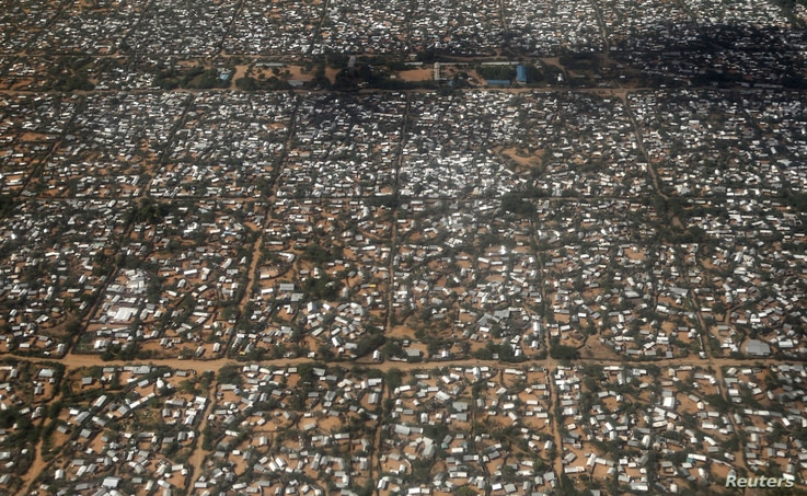 FILE PHOTO: An aerial picture shows a section of the Hagadera camp in Dadaab near the Kenya-Somalia border
