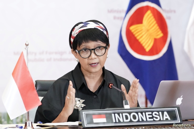 Indonesia's Foreign Minister Retno Marsudi speaks during a virtual informal meeting with foreign ministers and representatives of the Association of Southeast Asian Nations (ASEAN), in Jakarta