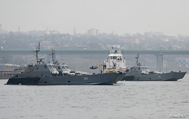 Landing crafts of the Russian Navy's Caspian Flotilla are pictured in Rostov-on-Don