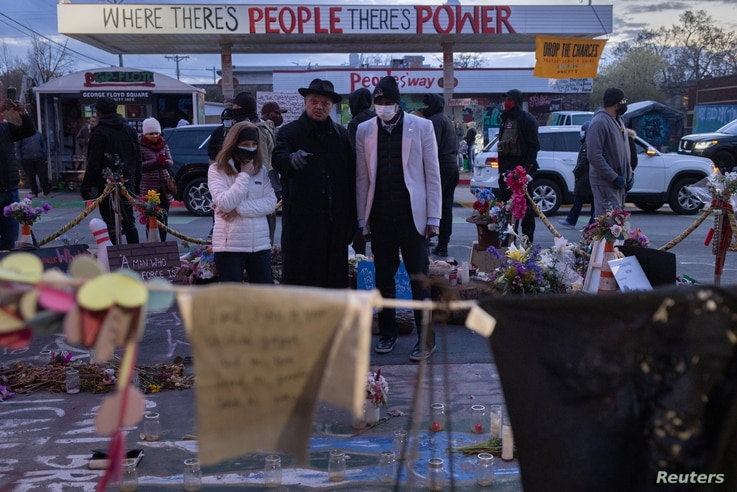 Reverend Jesse Jackson visits site of where George Floyd was killed in Minneapolis