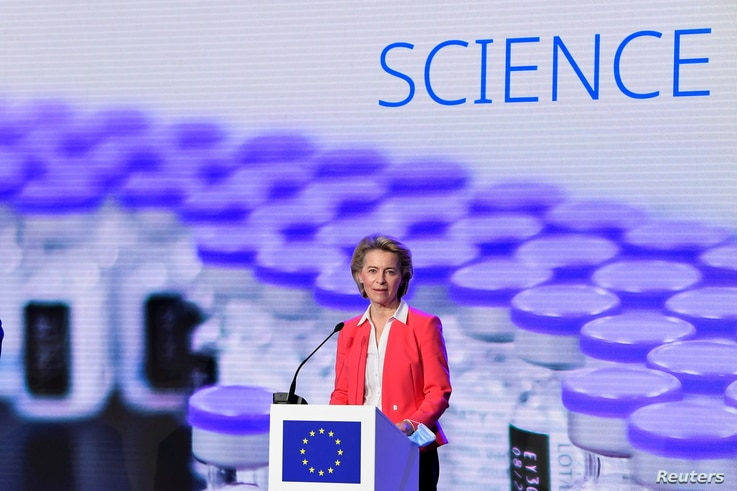 FILE PHOTO: European Commission President Ursula von der Leyen addresses a press conference after a visit to the Pfizer vaccine factory in Puurs