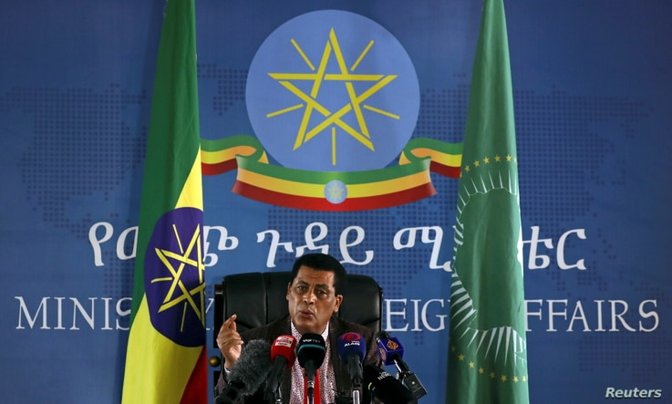 Ethiopia's Ministry of Foreign Affairs spokesperson, Dina Mufti addresses the media during a briefing regarding the current situation of the country in Addis Ababa