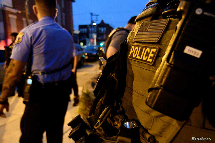 Police are seen during an active shooter situation, where Philadelphia police officers were shot, Aug. 14, 2019, in Philadelphia.