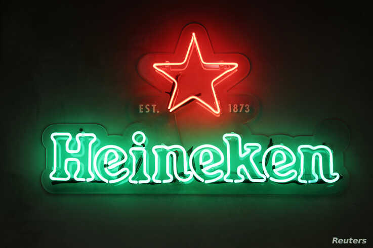 FILE - The Heineken logo is seen at the company's building in Sao Paulo, Brazil, April 30, 2019.