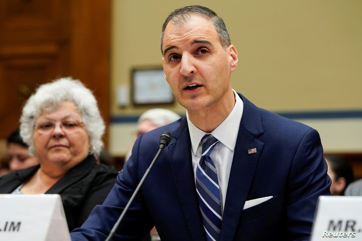 """George Selim, Senior Vice President of programs for the Anti-Defamation League, testifies during a hearing of the Civil Rights and Civil Liberties Subcommittee on """"Confronting White Supremacy (Part I): The Consequences of Inaction"""" on Capitol Hill in Washington, U.S., May 15, 2019.      REUTERS/Joshua Roberts"""