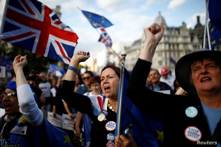 Anti-Brexit protesters demonstrate outside the Houses of Parliament in London, Britain, September 4, 2019. REUTERS/Henry Nicholls