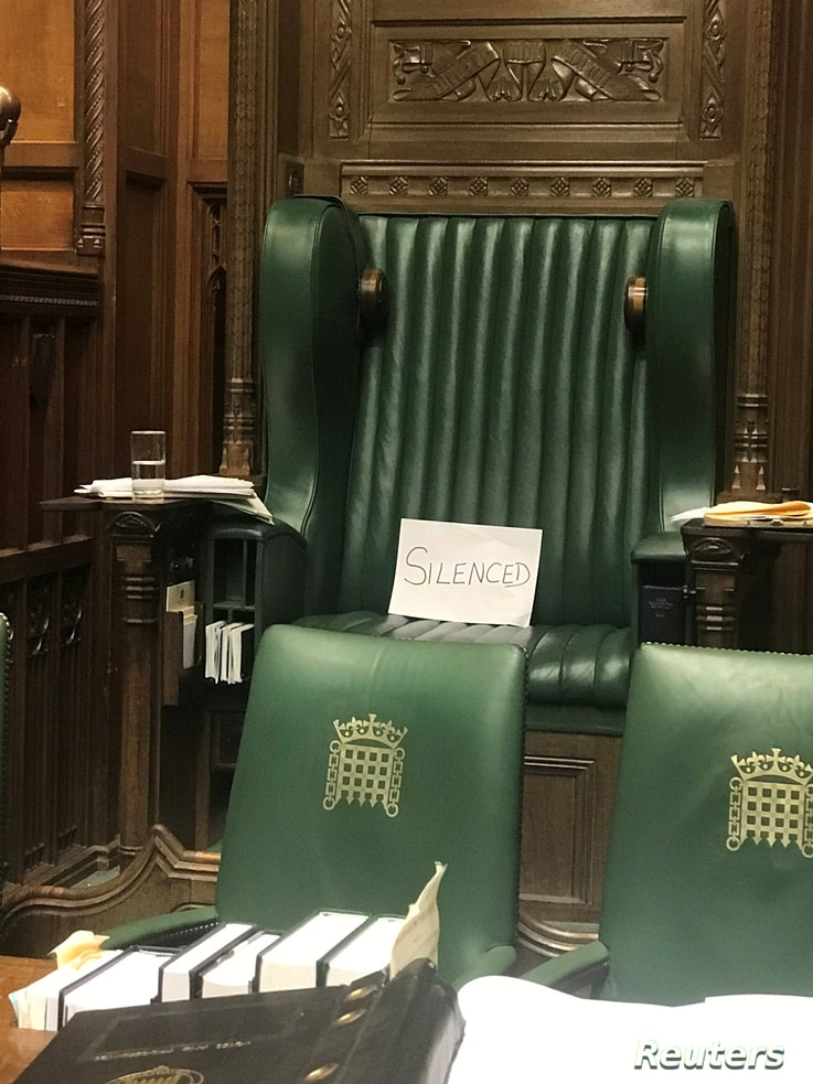 """A piece of paper with the word """"silenced"""" sits on the British Parliament Speaker's Chair at the House of Commons, in protest of the House's suspension, in London, Britain September 10, 2019 in this picture obtained from social media. Angela Rayner via REUTERS THIS IMAGE HAS BEEN SUPPLIED BY A THIRD PARTY. MANDATORY CREDIT. NO RESALES. NO ARCHIVES."""