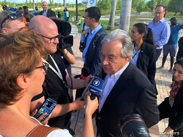U.N. Secretary-General Antonio Guterres talks to the media outside Kendal Isaacs Gymnasium, which is serving as an evacuation center, in Nassau, Bahamas September 13, 2019. Picture taken September 13, 2019. REUTERS/Rodrigo Gutierrez