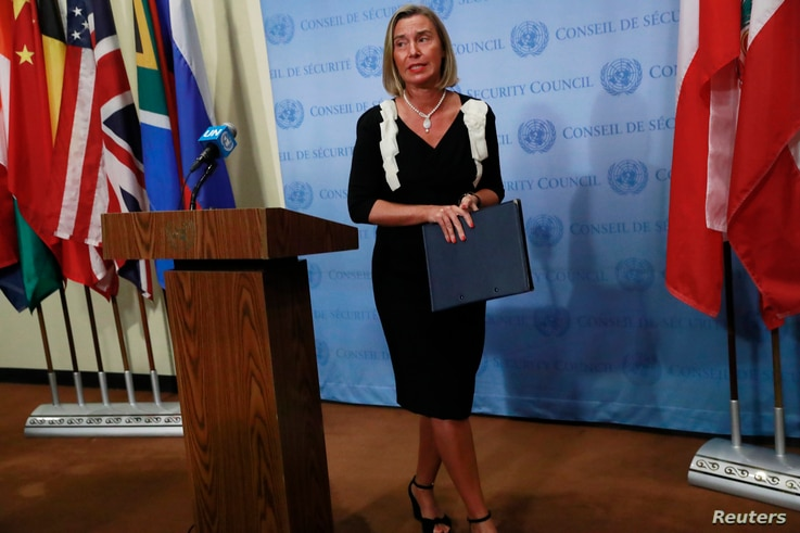 Federica Mogherini, High Representative for Foreign Affairs and Security Policy and Vice-President of the European Commission, speaks following a meeting among remaining parties to the Iran nuclear deal at United Nations headquarters in New York City, New York, U.S., September 25, 2019. REUTERS/Yana Paskova